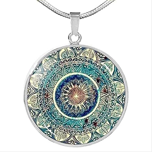 Yiffshunl Collar Tendencia Collar OM India Yoga Mandala Collar de Cuello Redondo Cabujón Colgante de Cristal Budismo Chakra Collar de joyería Mujeres Regalos