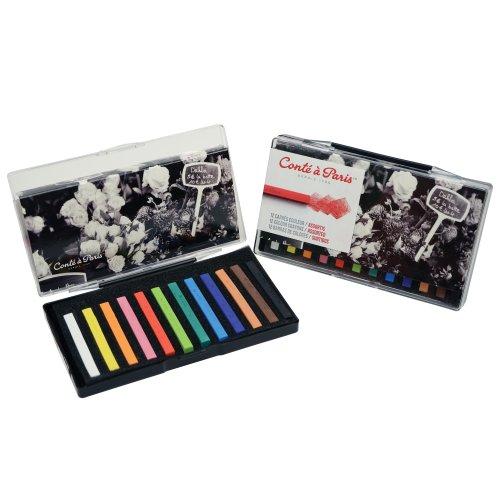 Conté à Paris Colored Crayons Set with 12 Assorted Colors