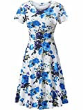 HUHOT Summer Dresses for Junior, Casual A Line Cute Dress Blue and White(Print 2,Small)
