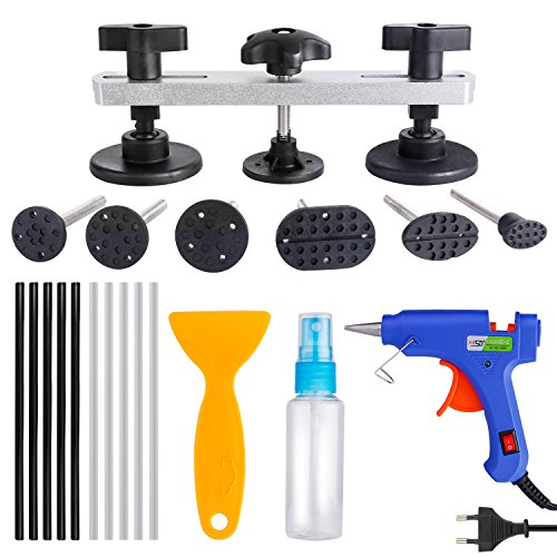 Auto Dent Abzieher Tool Kit, Dent Paintless Reparatur PDR Werkzeuge mit Heißkleber Pistole + 10 Stück High Adhesive Klebestifte + Klebstoff Schaufel + Leere Alkohol Flasche für Auto Dent Removal