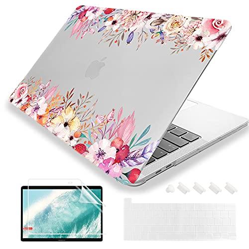 """MUSHUI 4 in 1 Custodia per MacBook Pro 13 pollici 2020 – 2016 (Modello: A2338 M1 A2289 A2251 A2159 A1989 A1706 A1708) morbida Case Cover & Tastiera Cover per Apple Mac Pro 13"""", Fiorellino"""