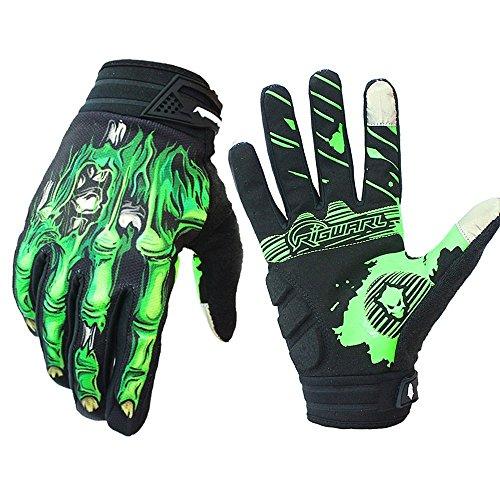 Rigwari Mountainbike-Reithandschuhe Reiten Handschuhe Motorrad Handschuhe volle Finger Touchscreen Handschuhe Männer und Frauen Sport Mode Skelett Handschuhe (Grün1, L)