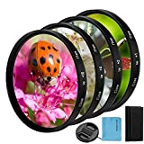 58mm Close-up Filter Kit 4 Pieces(+1,+2,+4,+10) Macro Filter Accessory Close-up Lens Filter Kit Set with Lens Filter Pouch for Canon Nikon Sony Pentax Olympus Fuji DSLR Camera+Lens Cap