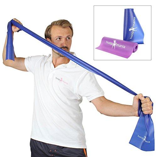 hoopomania Fitnessband - Gymnastikbänder für Yoga, Pilates oder Rehabilitation, Blau, 150 x 15 cm, Zugkraft: Mittel