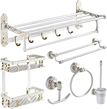 QAWSED Toiletrolhouder, Badkamer Hardware Set Aluminium Papier Houder Handdoek Bar Hoek Plank Toiletborstelhouder Haak Bad...