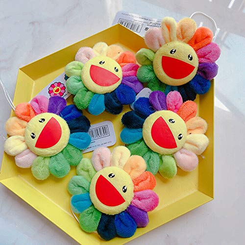 5pcs Lovely Flower Colorful Sun Flower Brooch Pendant Rainbow Pin Badge Strap Plush Cute Toys Gifts
