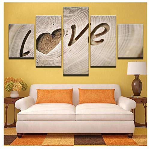 nr Modulaire muurkunst poster 5 stuks liefde planken schilderijen voor woonkamer wooncultuur canvas HD-40x60cmx2 40x80cmx2 40x100cmx1 frameloos