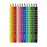 Pelikan 700627 Matite Colorate per Bambini, 12 Colori Serie Silverino, Forma Triangolare Ergonomica, Diametro Spessore Jumbo 5 mm, Grip Antiscivolo, Legno Sostenibile FSC