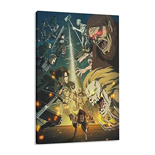 Póster artístico de Ataque sobre Titan Wall Art Posters Lienzo Decoración de Dormitorio Deportes Paisaje Oficina Decoración de Sala Marco de Regalo Estilo 30 × 45 cm