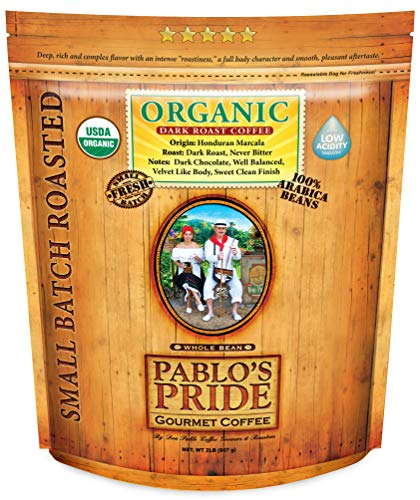 2LB Pablo's Pride Organic Dark Roast - Whole Bean Coffee - Low Acidity - Organic Arabica Coffee - 2 Pound Bag
