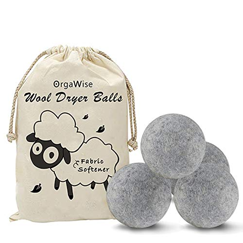 OrgaWise Wool Dryer Balls Set of 4 Pack XL 100% Organic Zealand Wool Dryer Balls Reusable Natural Fabric Softener Healthy Laundry Life Reduce Wrinkles & Static Cling (4Pack-Grey 2.76 INCH)