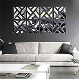 Lot de 4 autocollants muraux 3D en acrylique avec motifs géométriques carrés et géométriques - Pour décorer votre salon, chambre à coucher, escalier., Acrylique, Argenté., Lot de 8