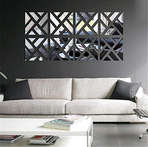 3D Mirror Wall Stickers, 4 Pcs Acrylic Square Geometric Pattern DIY Art Decal, Self Adhesive Mirror Plastic Wall Sheet Tiles Home Decoration for Living Room Bedroom Stair Wall Decor (8 PCS)