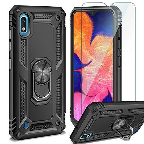 AROYI Funda Samsung Galaxy A10 + Cristal Templado, 360 Anillo iman Soporte, Hard PC y Silicona TPU Bumper antigolpes Case Carcasa para Samsung Galaxy A10 Negro