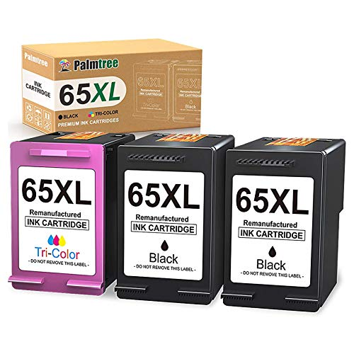 Palmtree Remanufactured Ink Cartridge Replacement for HP 65XL 65 XL Fit with HP DeskJet 3755 2655 3752 2622 2620 3730 3732 3723 3722 3720 HP Envy 5055 5052 5058 Printers (2 Black, 1 Tri-Color)