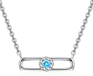 Necklace Jewelry Women's Clavicle Chain Necklace 925 Sterling Silver Blue Topaz Pendant Necklace With 18 Inch Silver Chain...