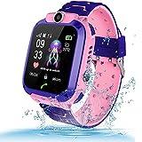 themoemoe Kids Smartwatch, Kids GPS Tracker Watch Kids Waterproof Smart Watch Phone GPS Tracker with SOS Two Way Call (Pink)