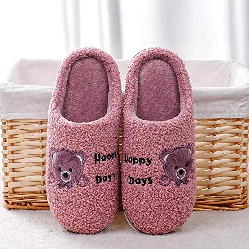 DHYF Pantuflas de algodón cálidas y Antideslizantes,Zapatillas cálidas de algodón Antideslizante, Zapatillas cómodas y Resistentes al Desgaste.-Púrpura_36-37,Pantuflas cálidas de algodón