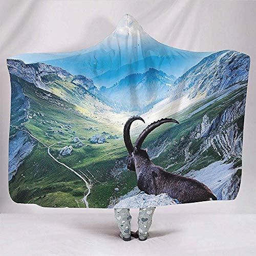 Nat Abra Magique Elk Mountain Brumeux Forêt Paysage Animal Nature Couvertures Doux Chaud Sherpa Polaire Grande Couverture Cape Enfants Étudier Chaise Literie