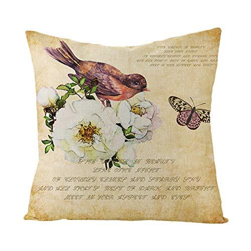 Bishilin Fundas De Almohadas Poliéster 18x18 Inch Flor Pájaro Letras Cuadrado Funda de cojín de Tiro Funda de Almohada Lavable para sofá Cama Estilo 12 Blanco Beige (Solo Portada, sin Inserto)