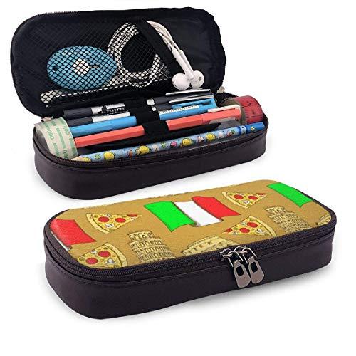 Italienisches Kolosseum Pisa Turm Pizza PU Leder Bleistift Stift Fall Tasche Tasche mit Reißverschluss Schulmaterial für Studenten Münzgeldbörse Kosmetik Make-up Tasche