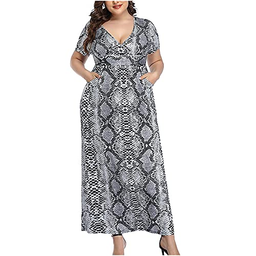 pamkyaemi Summer Dress Women's Plus Size Dresses Elegant Short Sleeve High Waist Evening Dresses Print Dress Casual V-Neck Summer Casual Dresses Beach Dresses Party Dresses - Black - S
