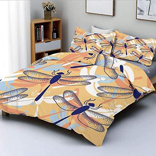 Juego de Funda nórdica, Figuras de libélula repetitivas Grandes y desiguales con Dos Pares de alas remendadas Juego de Cama FlyingDecorative de 3 Piezas con 2 Fundas de Almohada, Multicolor, el Mejor