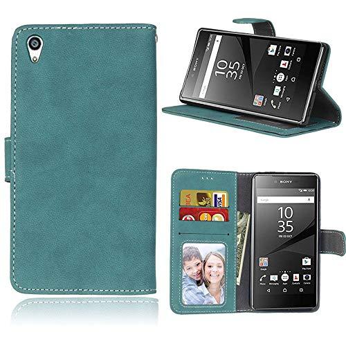 Sangrl Lederhülle Schutzhülle Für Sony Xperia Z5 Premium/Dual / Z5 Plus, PU-Leder Klassisches Design Wallet Handyhülle, Mit Halterungsfunktion Kartenfächer Flip Hülle Blau