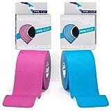 Boundletics Kinesiologie Tape vorgeschnitten (5 x 25 cm) - 40 Streifen Physiotape Precut - wasserfest & elastisch - Kinesio Tapes mit Anleitung (Blau + Pink) -