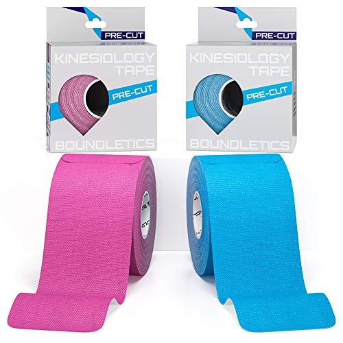 Boundletics Kinesiologie Tape vorgeschnitten (5 x 25 cm) - 40 Streifen Physiotape Precut - wasserfest & elastisch - Kinesio Tapes mit Anleitung (Blau + Pink)