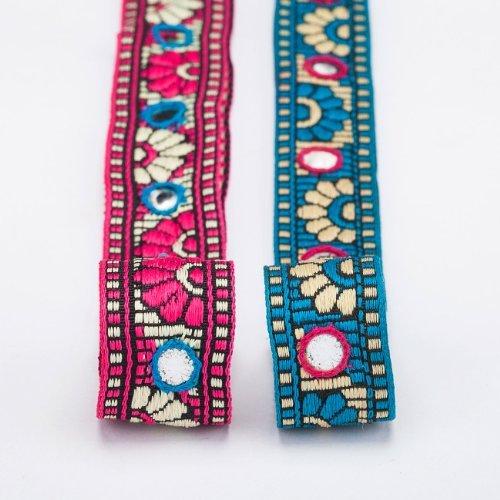 The Yard Neotrims Ruban indien brodé à la main à sequins/miroirs pour décoration vêtements/artisanat Style gujarati