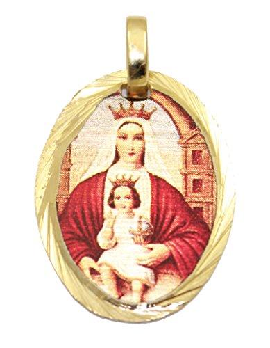 Diamantados of Florida Virgen de Coromoto Medalla-Nuestra señora de Coromoto Medalla Chapado en Oro de 14K Medalla con 18Pulgadas Cadena