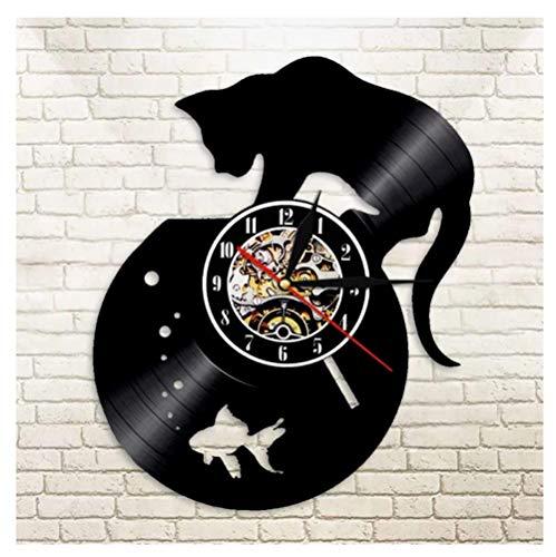 GenericBrands Relojes de Pared Pecera y Gato Disco de Vinilo Retro Pegatina Pared Modernos DIY de Adhesivo de Etiqueta de Decoración llenado Vacía 12 Pulgada(Sin Luces)