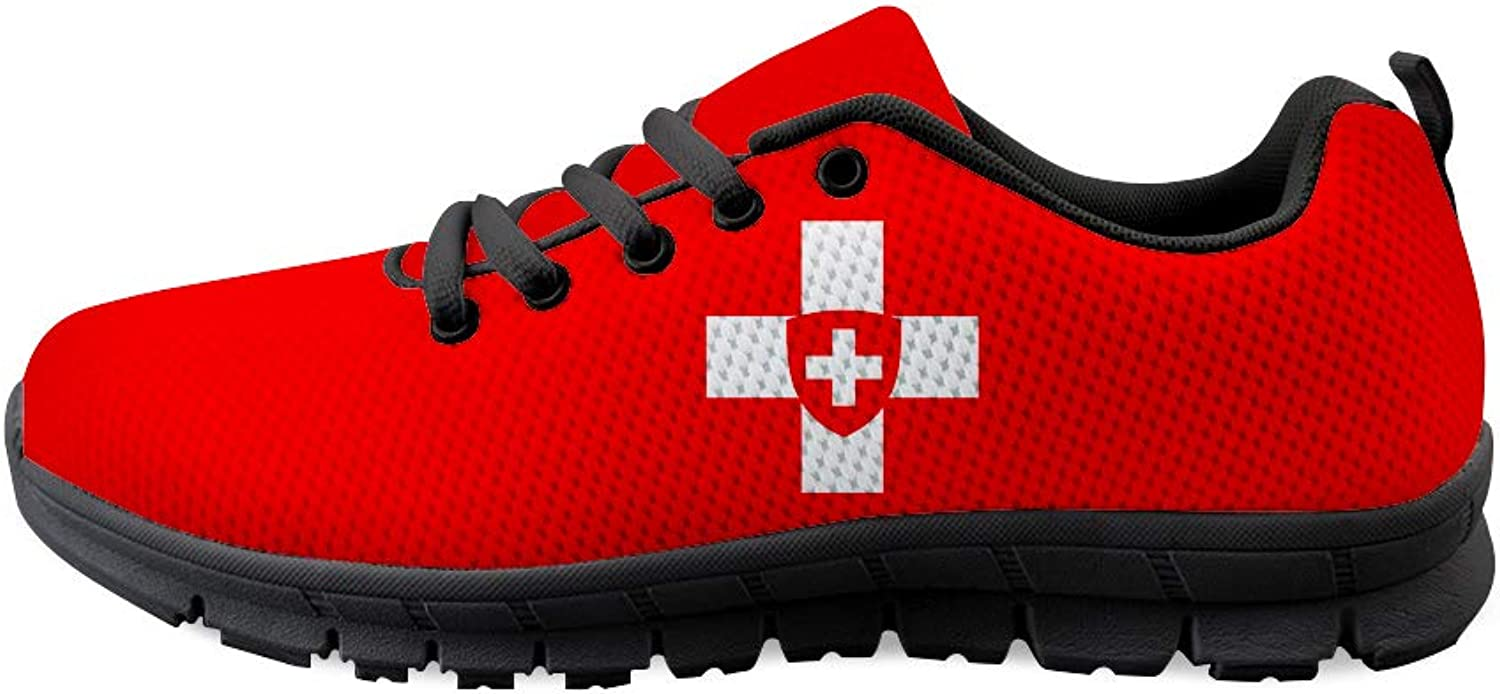 Owaheson Lace-up Sneaker Training shoes Mens Womens Swiss Flag National Emblem