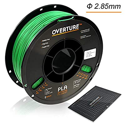 Overture PLA 3D Printer Filament 1-Pack Green 2.85 1kg x 1