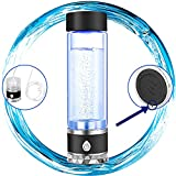 N.P Hydrogen Water Bottle Generator,Up to 1700PPB,Dual Chamber,PEM and SPE Technology,Portable Hydrogen Water Maker Machine with Inhaler Adapter & Alkaline Balls,New Technology Glass Water Ionizer
