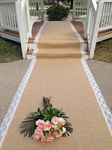 Dawn Wedding Designs Burlap and Ivory Lace Aisle Runner - 30 Feet