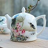 BABYCOW Teiera in Ceramica Argilla 300cc teiera in Porcellana Stile Cinese Dipinto Bicchieri Mano Fiore Modello Uccello Manico Principali bollitori Jingdezhen Tea-Gifts