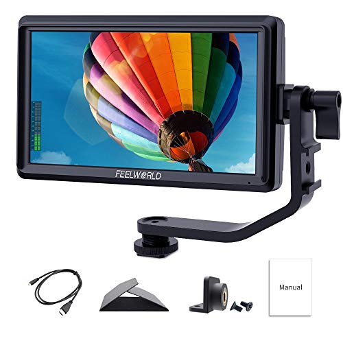Feelworld S55 5.5 Pulgadas On Camera Field Monitor de Campo DSLR Cámara Small Full HD 1280x720 IPS Peaking Focus Video Assist con 4K HDMI 8.4V DC Input Output Incluyen Tilt Arm