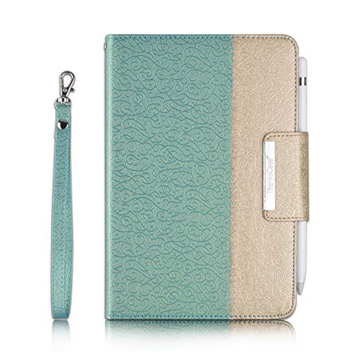 "Thankscase Case for iPad Mini 5 7.9"" / iPad Mini 4, Rotating Case Leather Cover with Apple Pencil Holder, Swivel Case Build-in Hand Strap, Wallet Pocket for iPad Mini 5th Generation 2019 (Gold Jade)"