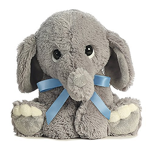 Lil Benny Phant Ellas Bundle of Joy Plush - Grey Elephant with Blue Ribbon