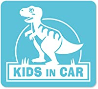 imoninn KIDS in car ステッカー 【マグネットタイプ】 No.71 ティラノサウルスさん (水色)