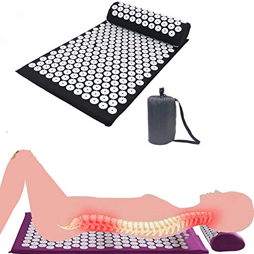 PILIBEIBEII Akupressurmatte und Kissen Massage-Set für Rücken, Beine, Hals, Ischias, Triggerpunkt-Therapie, Schmerz und Stress Relief Akupunktur Matratze für Rückenschmerzen