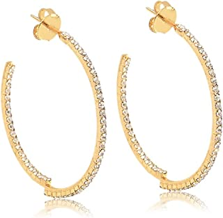 AMA 18K Gold-Plated Hoop Pin Earrings with Crystals- Unique Asymmetric Crystal-Studded Jewelry for Women - Hypoallergenic ...