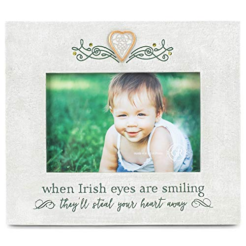 Grasslands Road When Irish Eyes are Smiling Frame - Celtic Frame -Irish Gifts, Resin, Gems, 7 1/4 by 8 1/4 Inches, Holds 4 x 6 Photo, Kraft Window Box