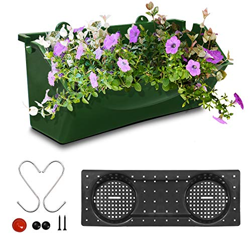 KORAM 12-inch Vertical Garden Planter Wall Mount Hanging Flower Box Living Wall Planter Plant Pots with S Shaped Hooks for Balcony Window Vegetable Gardens,1-Pack Garden Gifts for Men & Women