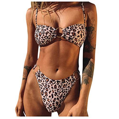 Dasongff Ladies Bikini sets Leoparden Sling Bandeau Push Up Badmode twee stuks zwempak stalen ring zwemsuit G-String Beachwear strandvakantie badkleding