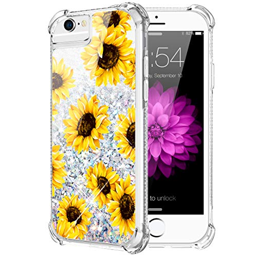 Caka iPhone 6 6S 7 8 Case, iPhone 6S Sunflower Glitter Case for Girls Women with Tempered Glass Screen Protector Bling Flowing Sparkle Soft TPU Liquid Case for iPhone 6 6S 7 8 (4.7 inch) (Sunflower)