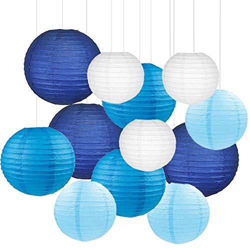 Holite Blue Paper Lanterns 12 Pcs Assorted Size of 6