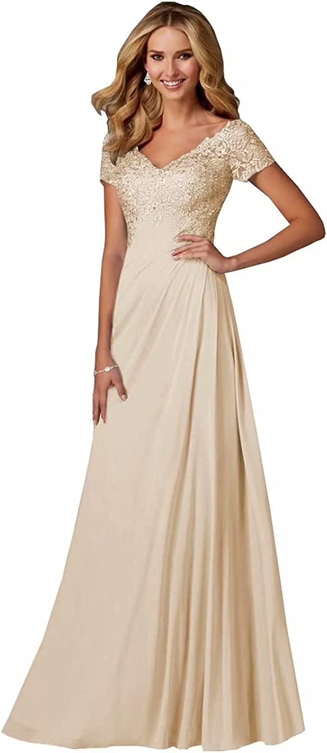 V-Neck Lace Appliques Mother of The Bride Dress Beaded Chiffon Evening Gown with Sleeves